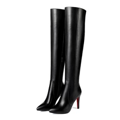 Women's Leatherette Stiletto Heel Platform Over The Knee Boots shoes