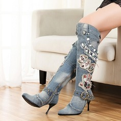 Women's Cloth Stiletto Heel Pumps Closed Toe Boots Knee High Boots shoes