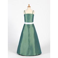 A-Line/Princess Floor-Length Taffeta Junior Bridesmaid Dress With Sash