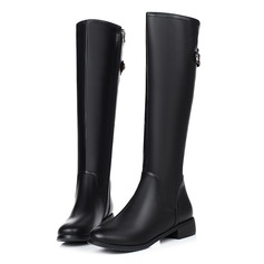 Women's Leatherette Flat Heel Pumps Knee High Boots With Zipper Button shoes