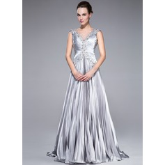 A-Line/Princess V-neck Sweep Train Charmeuse Prom Dress With Beading Appliques Lace Sequins Pleated