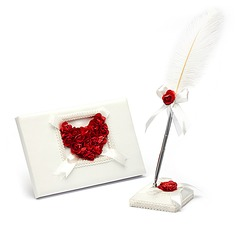 Rose Love Satin Petals Guestbook/Pen Set