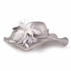Ladies' Fashion Summer Cambric With Feather Floppy Hat