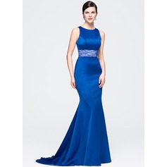 Trumpet/Mermaid Scoop Neck Court Train Satin Lace Evening Dress