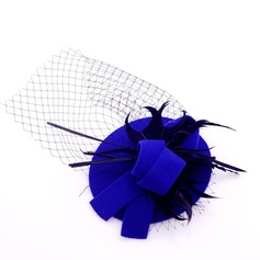 Ladies' Beautiful Wool/Tulle With Feather Beret Hat