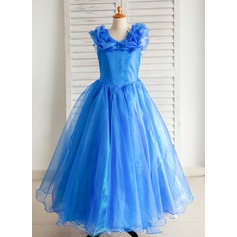 Ball Gown Floor-length Flower Girl Dress - Organza/Satin/Tulle Sleeveless V-neck