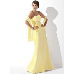 A-Line/Princess Strapless Floor-Length Satin Lace Bridesmaid Dress With Ruffle Beading Sequins
