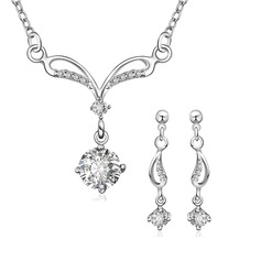 Beautiful Silver Plated With Rhinestone Ladies' Jewelry Sets (137068956)