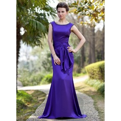 Trumpet/Mermaid Scoop Neck Sweep Train Charmeuse Mother of the Bride Dress With Beading Sequins Cascading Ruffles
