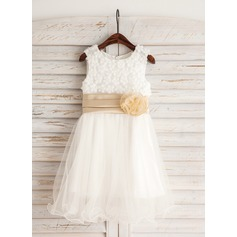 A-Line/Princess Tea-length Flower Girl Dress - Satin/Lace/Cotton Sleeveless Scoop Neck With Beading/Appliques/Flower(s)/Bow(s)