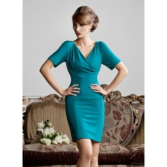 Sheath/Column V-neck Short/Mini Jersey Mother of the Bride Dress With Ruffle