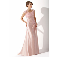 A-Line/Princess Scoop Neck Sweep Train Charmeuse Mother of the Bride Dress With Ruffle Beading Appliques Lace Sequins