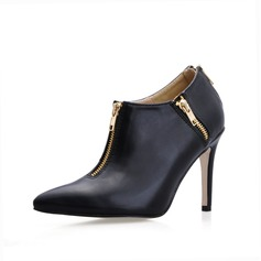 Leatherette Stiletto Heel Closed Toe Ankle Boots With Chain