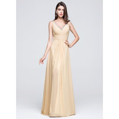A-Line/Princess V-neck Floor-Length Chiffon Prom Dress With Ruffle Beading Sequins Split Front
