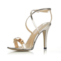 Patent Leather Stiletto Heel Slingbacks Sandals With Rhinestone