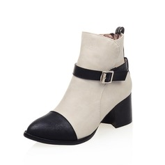 Women's Leatherette Chunky Heel Ankle Boots Martin Boots With Buckle shoes