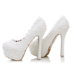 Women's Real Leather Stiletto Heel Closed Toe Platform Pumps With Imitation Pearl Stitching Lace