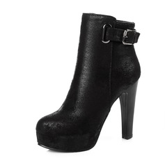 Women's Leatherette Stiletto Heel Pumps Platform Closed Toe Boots Ankle Boots With Buckle shoes