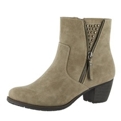Women's Suede Low Heel Boots Ankle Boots With Zipper shoes