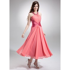A-Line/Princess Scoop Neck Tea-Length Chiffon Bridesmaid Dress With Ruffle Beading Sequins