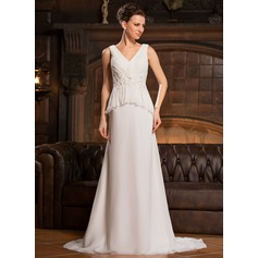 A-Line/Princess V-neck Sweep Train Chiffon Evening Dress With Lace Beading Sequins Cascading Ruffles