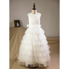 A-Line/Princess Floor-length Flower Girl Dress - Organza/Tulle Sleeveless Scoop Neck With Bow(s) (Petticoat included) (010093759)