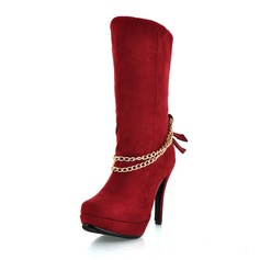 Suede Stiletto Heel Mid-Calf Boots With Chain shoes
