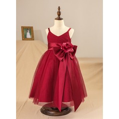A-Line/Princess Knee-length Flower Girl Dress - Satin/Tulle Sleeveless Straps With Flower(s)/Pleated