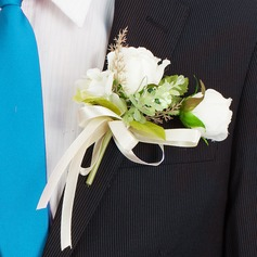 Lovely Round Artificial Silk Boutonniere/Men's Accessories