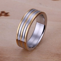 Simple Silver Plated Copper Ladies' Fashion Rings