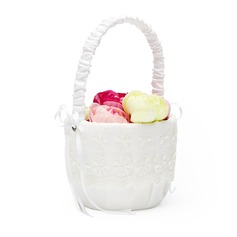 Elegant Flower Basket in Satin & Lace With Rhinestones