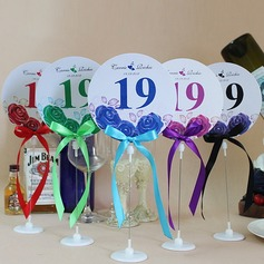 Personalized Lovely Rose Paper Table Number Cards With Holder With Ribbons