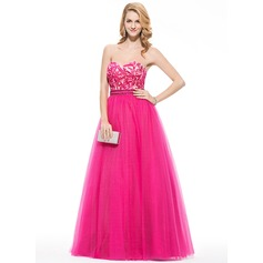 A-Line/Princess Sweetheart Floor-Length Tulle Prom Dress With Beading Appliques Lace Sequins