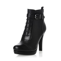 Real Leather Stiletto Heel Ankle Boots With Buckle shoes