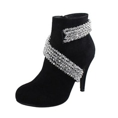 Real Leather Stiletto Heel Ankle Boots With Rhinestone shoes