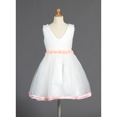 A-Line/Princess Knee-length Flower Girl Dress - Organza/Charmeuse Sleeveless V-neck With Beading/Flower(s)