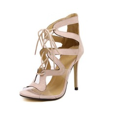 Women's Suede Stiletto Heel Sandals Peep Toe Ankle Boots With Hollow-out Braided Strap shoes