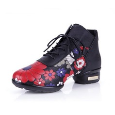 Women's Real Leather Sneakers Practice With Flower Lace-up Dance Shoes