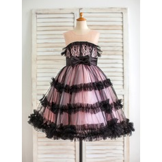 Ball Gown Tea-length Flower Girl Dress - Satin/Tulle/Lace Sleeveless Scoop Neck With Sash/Bow(s)