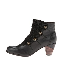 Women's Leatherette Low Heel Boots Ankle Boots With Button shoes