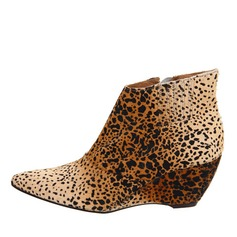 Women's Suede Wedge Heel Pumps Closed Toe Wedges Boots Ankle Boots With Animal Print shoes
