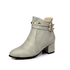 Women's Leatherette Low Heel Ankle Boots With Buckle Zipper shoes