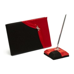 Red and Black Satin Rhinestones Guestbook/Pen Set