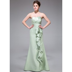 Trumpet/Mermaid Scalloped Neck Floor-Length Satin Bridesmaid Dress With Cascading Ruffles