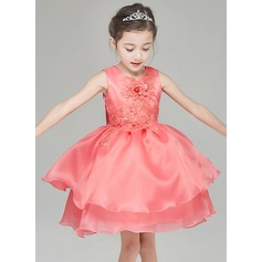 A-Line/Princess Short/Mini Flower Girl Dress - Organza Sleeveless Scoop Neck With Flower(s)/Bow(s)