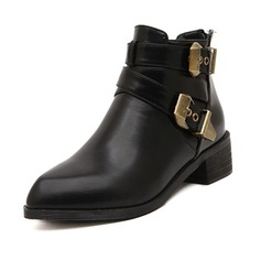 Leatherette Low Heel Closed Toe Boots Ankle Boots With Buckle Zipper shoes