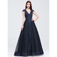 Ball-Gown V-neck Floor-Length Tulle Prom Dress With Beading Appliques Lace (018075969)