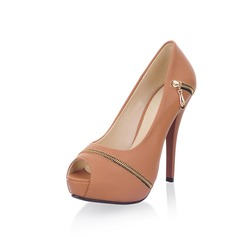 Leatherette Stiletto Heel Peep Toe Platform Pumps With Zipper (085022923)