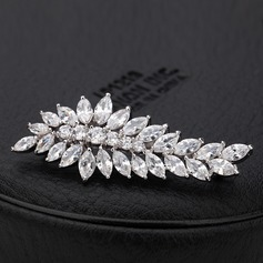 "Leaves Shaped Copper/Platinum plating/""AAA"" Level Zircon Women's/Ladies' Hair Jewelry"