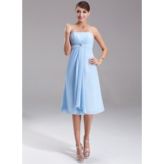 Empire Knee-Length Chiffon Bridesmaid Dress With Crystal Brooch Cascading Ruffles